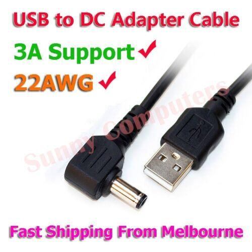USB Type-A Male to 5.5mm 4.0mm 3.5mm 2.5mm 5V DC Power Jack Cable 90° Angle 3A