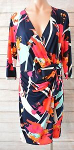 Hourglass-Dress-Sz-14-Large-Pink-Blue-White-Crossover-Shift-Dress-Wrap