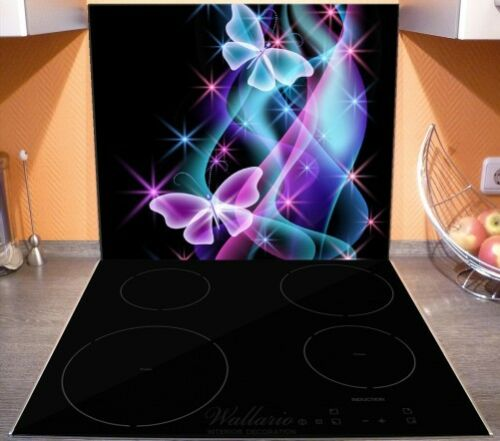 Schmetterlinge bunten 60x52cm Wallario Herdabdeckplatte 1-teilig aus Glas