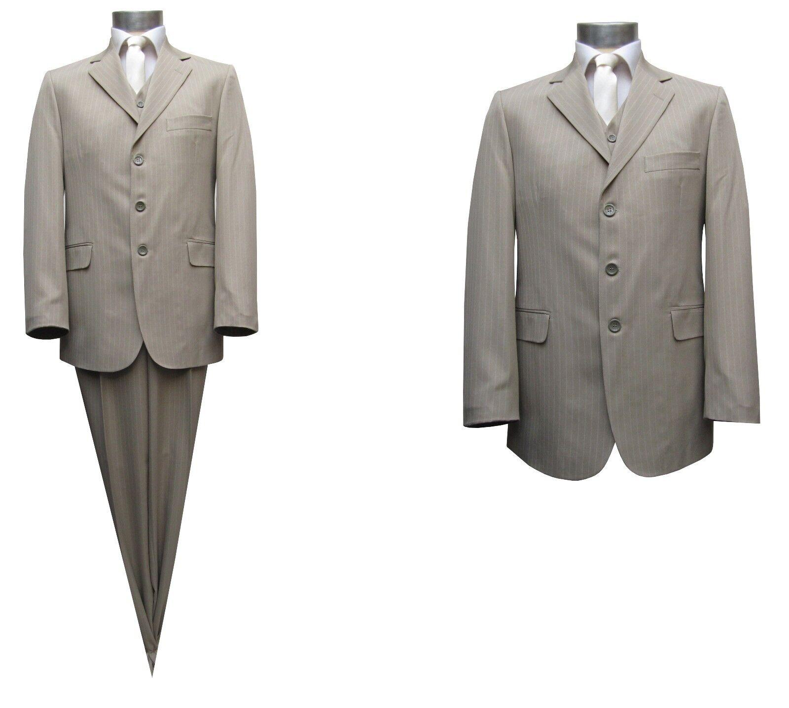 Streifen Herren Anzug 3-teilig Gr.122 Beige