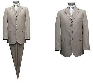 half off ab21d b48ce Details zu streifen Herren Anzug 3-teilig Gr.118 Beige