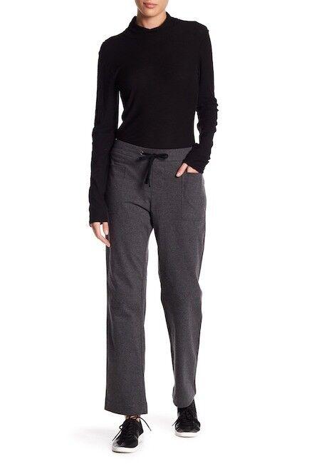 NWT James Perse Straight Leg Pants Charcoal Women sz 1 Small DRAW STRING  265
