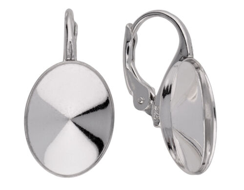 Silver leverback earring for Swarovski® 4122 oval rivoli 14 mm kz99 1 pair