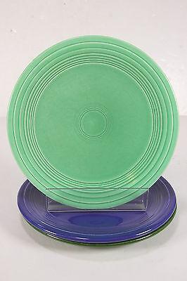 """Vtg Homer Laughlin Fiestaware Original FIESTA 9"""" Luncheon Plates Cobalt Green"""