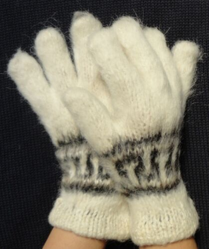 WARM HAND KNITTED GLOVES WHITE COLOR 100/% ALPACA WOOL ANDEAN NEW CARDED