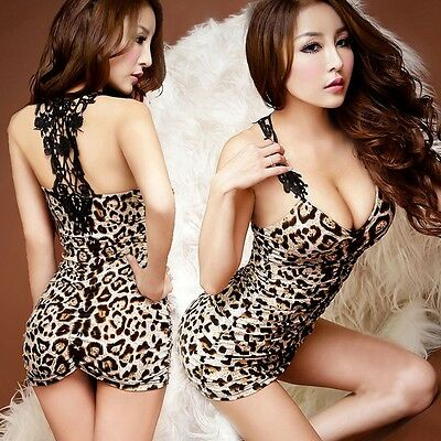 NEW Women Mini Sexy Leopard V-neck Sleeveless Dress Party Bodycon Skirt Cocktail