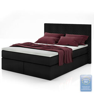boxspringbett design doppelbett polsterbett bett hotelbett inkl topper 140x200 ebay. Black Bedroom Furniture Sets. Home Design Ideas
