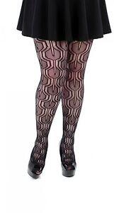 9238d43802b5a4 Black Floral Lilypad Net Tights by Pamela Mann Plus Size L/XL 16-18 ...
