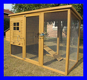 CHICKEN-COOP-HEN-HOUSE-POULTRY-ARK-RABBIT-HUTCH-RUN-NEW-LARGE-DUCK-BIRDS