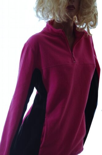 Womens Hot Pink Fushia Black 1//4 Zip Up Fleece Sweatshirt SPRING Pullover M NEW