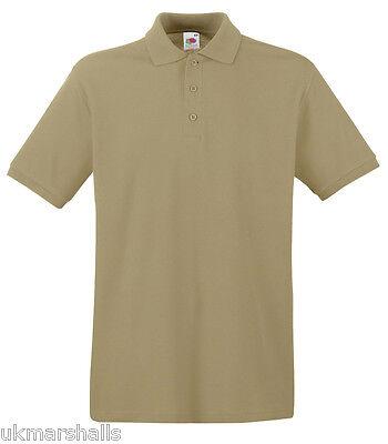 6 x Fruit of the Loom Premium 100% Cotton Polo T Shirt  S - XXXL 13 Colours