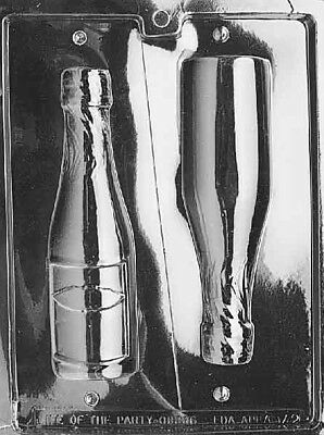 """2 in 1 wine bottle Mold 7/"""" Tall 3D Chocolate CHAMPAGNE BOTTLE Party Mould Set"""