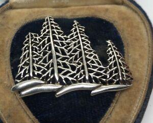 Vintage-Sterling-Silver-Brooch-Pin-925-Pine-Trees