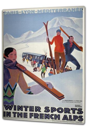 Blechschild XXL Retro  Winter Ski Schnee