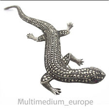 Große 13,9 cm Silber Brosche Eidechse Salamander Markasiten silver brooch lizard