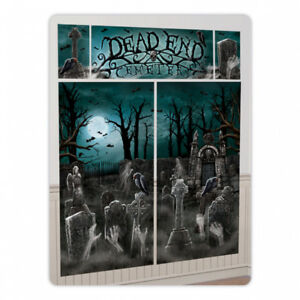 Details about Gothic Halloween Party DEAD END CEMETERY Haunted Graveyard  Wall Scene Kit