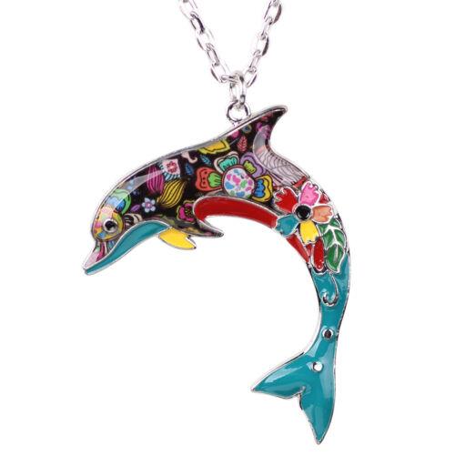 Émail alliage Sea Dolphin Collier Animal Pendentif Tour de cou pour femmes Charme Bijoux