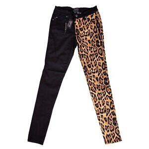 Tripp-NYC-Gothic-Punk-Black-Leopard-Split-Personality-Jeans-Pants-Size-5-27