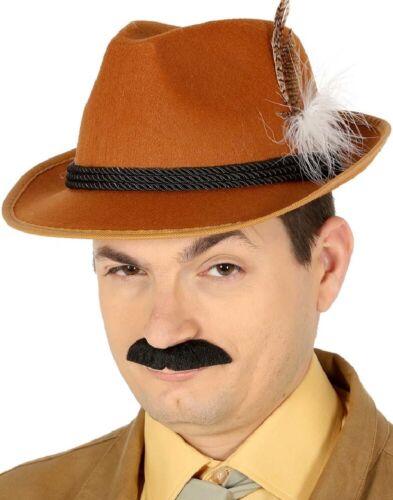 Homme Marron Victorien détective Oktoberfest Trilby Hat Fancy Dress Costume Outfit