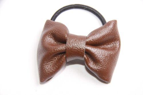 S313 Magnifique Élégant Femme Everyday Noir élastique cheveux bande W Brown Bow