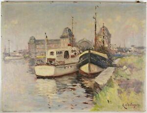 Rene-DE-BAUGNIES-1869-1962-Peinture-Paysage-marine-Le-port-d-039-Ostende-HST