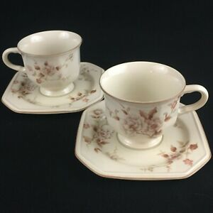 Set-of-2-VTG-Cups-and-Saucers-by-Mikasa-Continental-Ivory-Tivoli-Garden-Japan