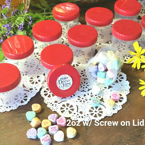 10 New JARS RED Screw Top Lids Caps 2 ounce Container Plastic 5307 DecoJars USA