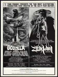 GODZILLA-vs-KING-GHIDORAH-ZEIRAM-Orig-1992-Trade-print-AD-promo-poster-TOHO