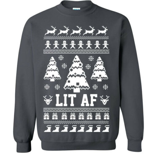 643 Lit AF Crew Sweatshirt Christmas ugly sweater party funny party college