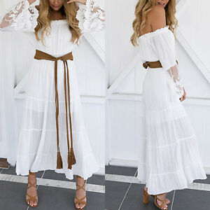 sommer wei es sommerkleid spitze hippie maxikleid kleid kleider gr e s xl neu ebay. Black Bedroom Furniture Sets. Home Design Ideas