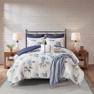Beautiful-White-Blue-Chic-Flowers-7-pcs-seersucker-Cal-King-Queen-Comforter-Set