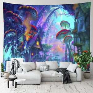 Psychedelique-Tapisserie-Tenture-Murale-Tapis-Hippie-Trippy-Mandala-Halloween