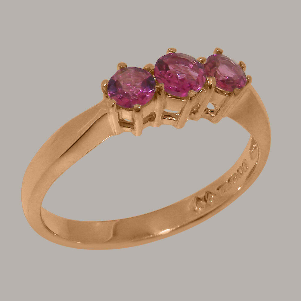 Solido 9ct rosa oro oro oro Naturale Tormalina rosa Da Donna trilogia anello-Taglie J a Z a60df6