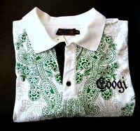 Coogi 4xl Casual Shirt Short Sleeve White Kelly Green Paisley
