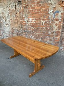 LARGE-SOLID-HEAVY-FARMHOUSE-COUNTRY-STYLE-PINE-KITCHEN-TABLE-DINING-TABLE