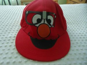 cea04baf NEW Red Ball Cap of Sesame Street Elmo with Glasses size L-XL Large ...
