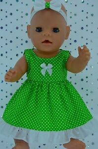 "Play n Wear Doll Clothes To Fit 17"" Baby Born  LIME POLKA DOT DRESS~HEADBAND"