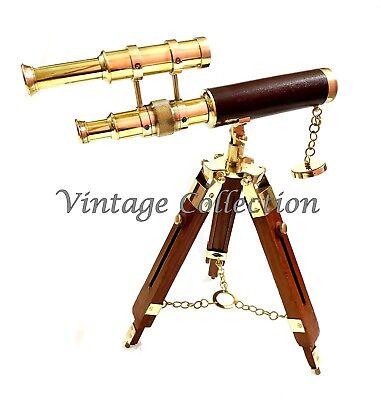 Messing 15,2 cm Teleskop mit Holzkasten antikes Leder