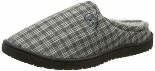 Dunlop Absolon Mens Grey Check Slip On Fur Lined Warm Fleece Mules Slippers