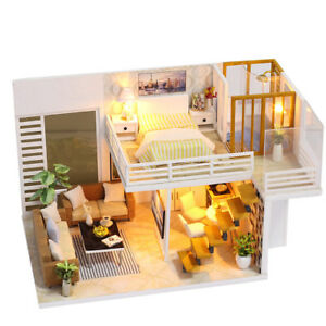 3d Wooden Diy Dollhouse Kitchen With Cover Led Light Miniature Kit