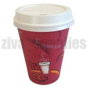 Image Is Loading 12oz Disposable Coffee Cups Amp Lids Paper Tea