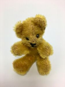 "Antique Miniature Steiff Mohair Teddy Bear 3"" Wire Jointed All Original Cond."