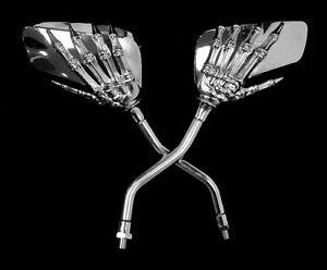 PAIRE-de-retroviseurs-Chrome-Mains-de-Squelette-pour-moto-custom-trike-quad-NEUF
