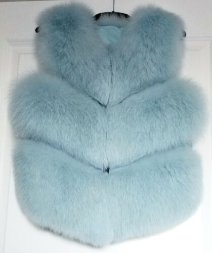 Waistcoat Light Fur Vest S Jacket Coat Sleeveless Fox Gilet Real Short Blue Baby Pvn0UT5
