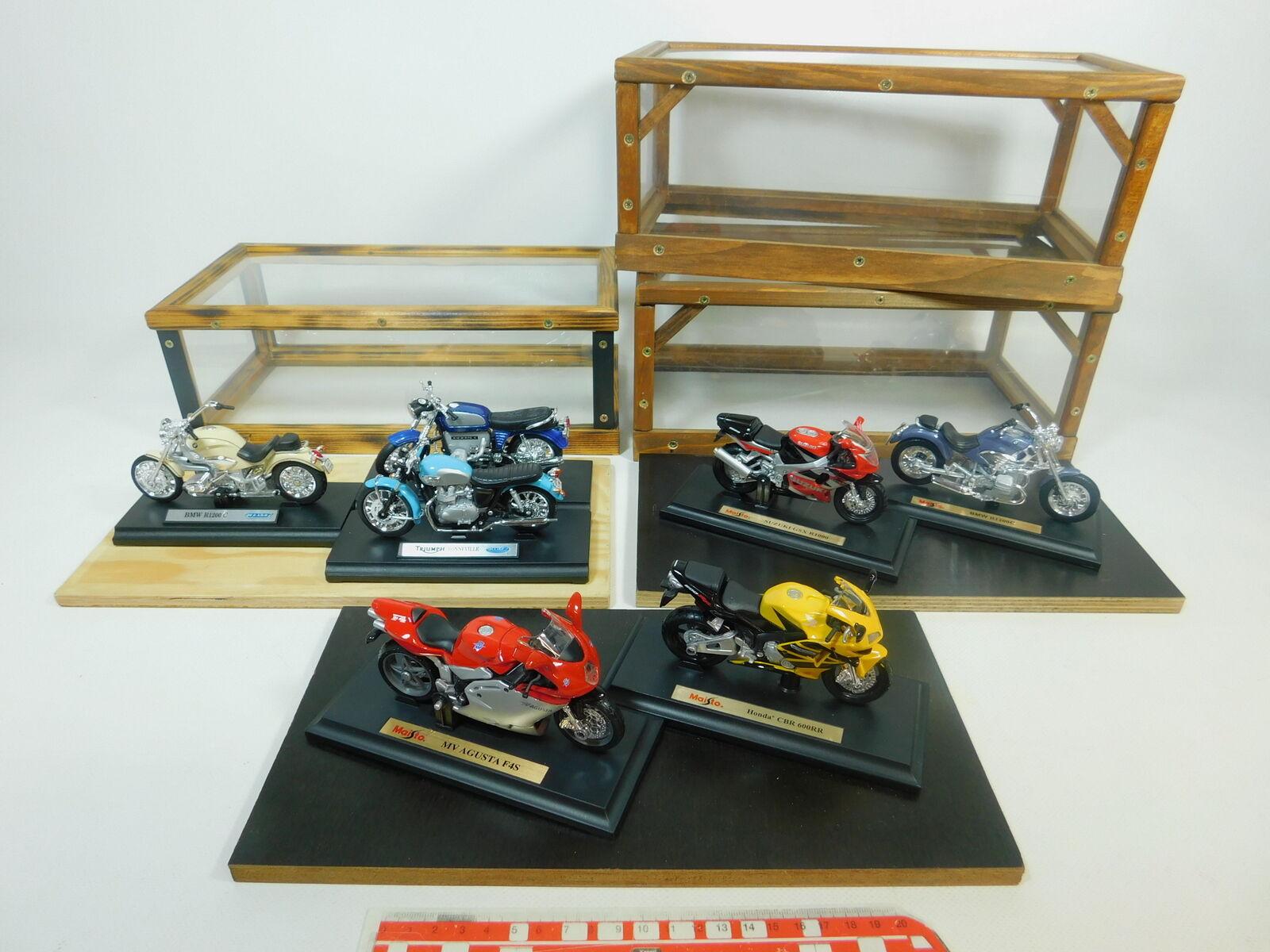 Bp497-6# 7x Welly/MAISTO 1:18 MOTO: BMW + SUZUKI + HONDA + Triumph etc, molto bene
