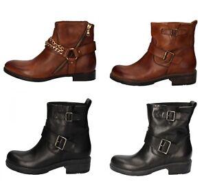 CRUZ scarpe donna stivaletti stivali colori marrone e nero in pelle