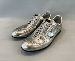 Gucci Sneakers Shoes GG Monogram Silver Leather Web Sz 39