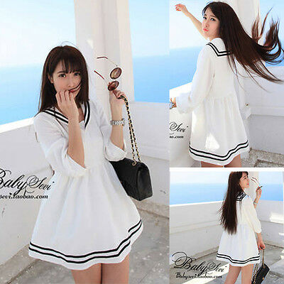 Womens New White Sailor Collar Uniform Girls Preppy Style Cute Casual Dress