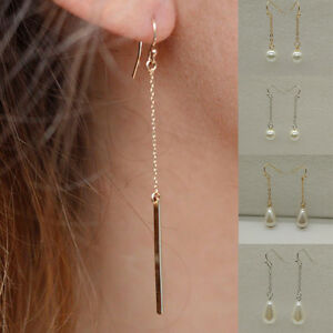 1-Paire-Femmes-Mode-Chic-Triangle-Goutte-Perle-Longue-Boucle-d-039-oreille-Bijoux