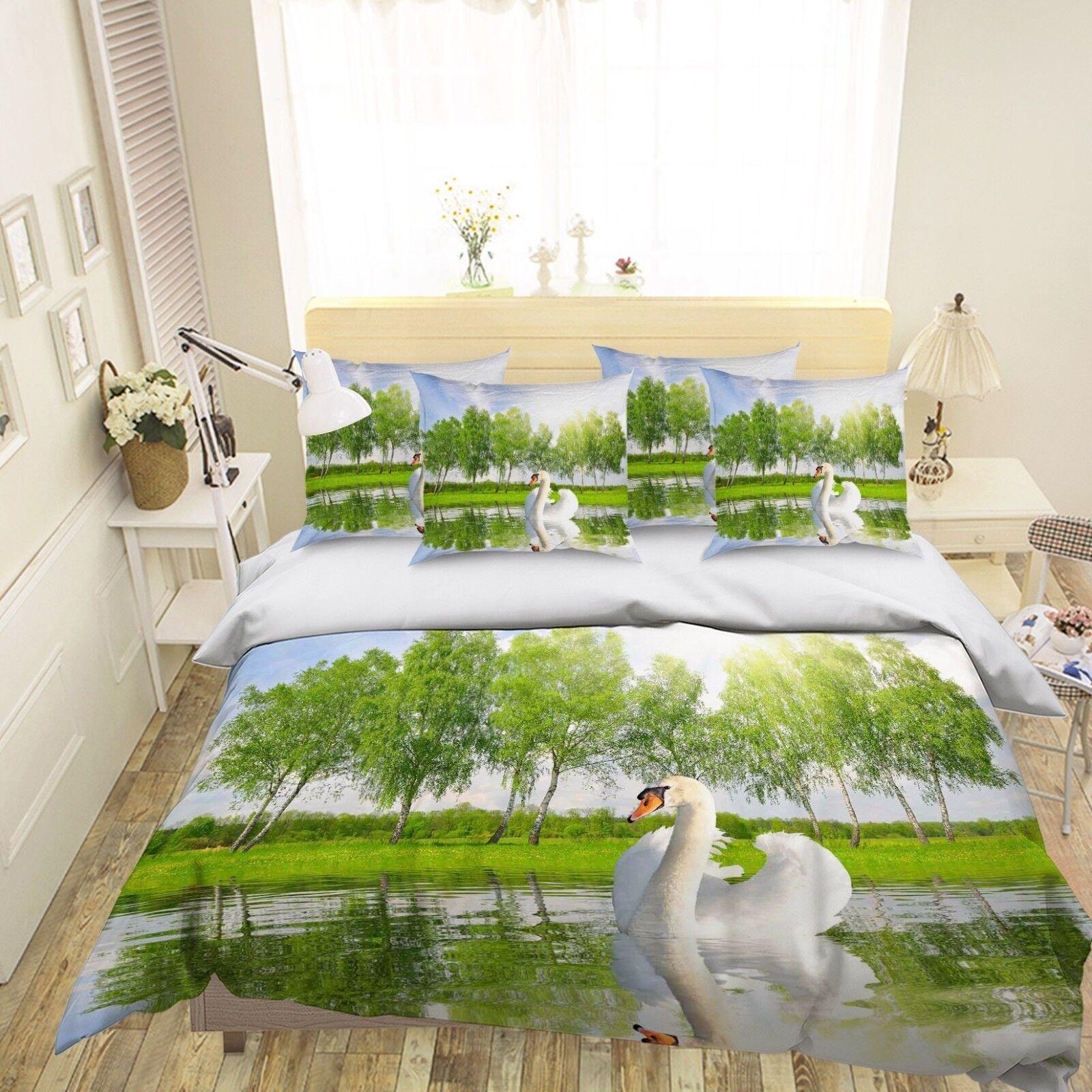 3D Swan Lake 401 Bed Pillowcases Quilt Duvet Cover Set Single Queen King AU Cobb
